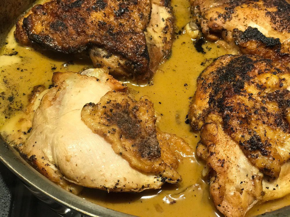 Mmmmm....chicken thighs simmering in a savory sauce...need I say more?