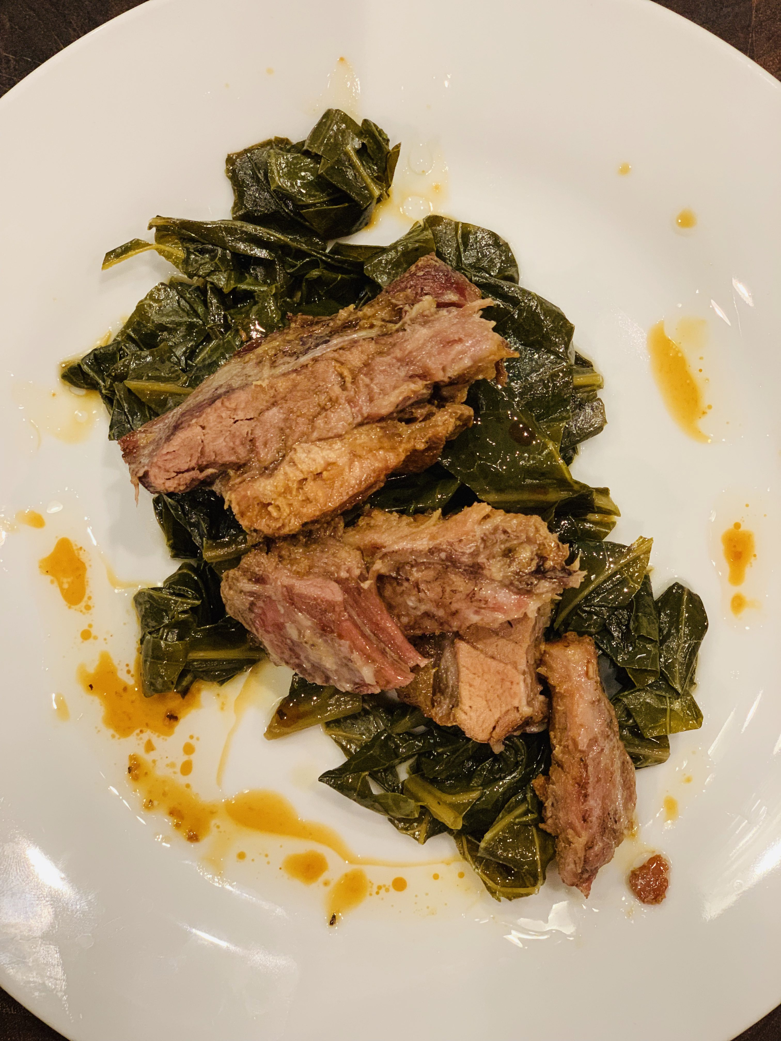 Collard Greens With Slow Roasted Pork Belly